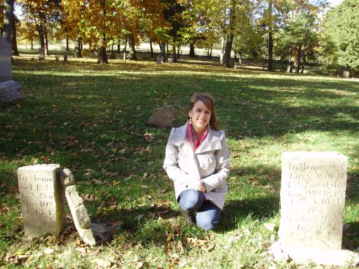 At the pioneer cemetery by the graves of some of my ancestors.