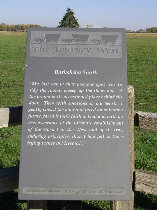 A quote I love along the trail of hope (the road the pioneers walked when they left Nauvoo).