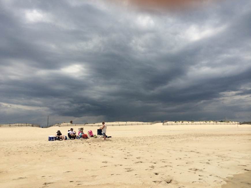 It got stormy, but never actually stormed on the beach (thank goodness).