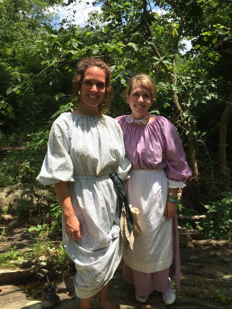 My sister and I in our pioneer clothes.  She volunteered for the full three days.