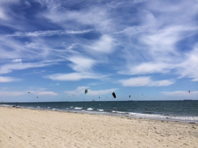 The beautiful ocean with lots of kite surfers.