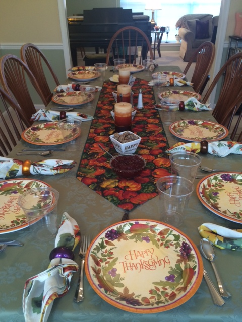 That table decorated by my mom.