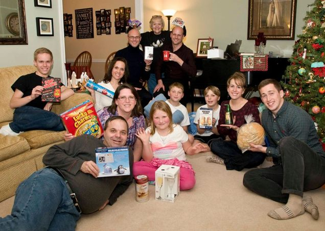 Modeling our white elephant gifts. A traditional Christmas Eve game at my parents' house. Poor Trevor…everyone kept stealing from him.