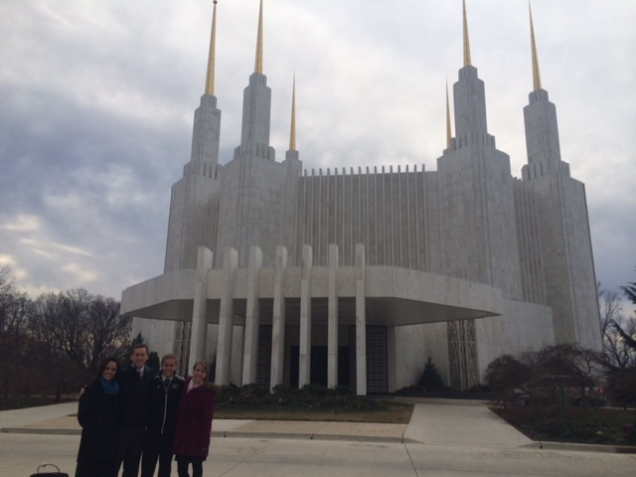 Morgan siblings in front of the Temple.