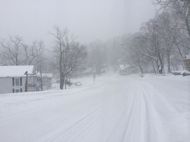The main highway totally snowed over.