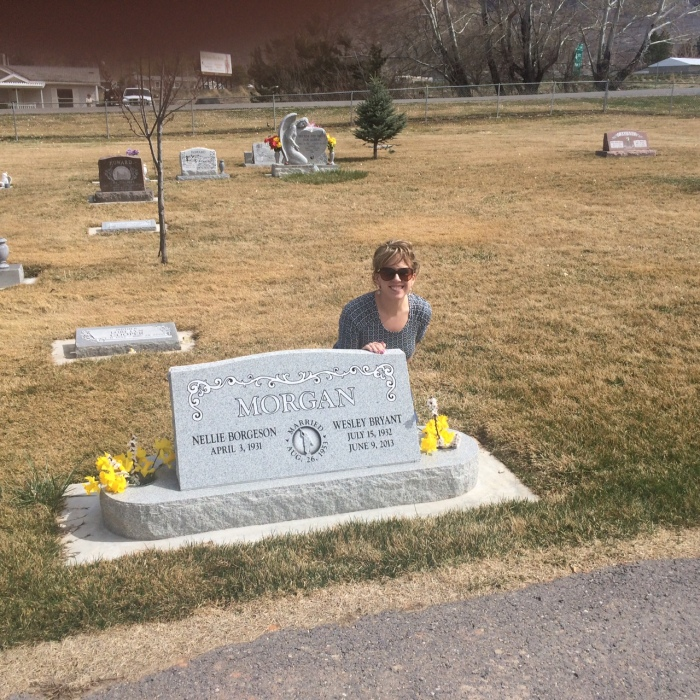 At my Grandpa Morgan's grave.