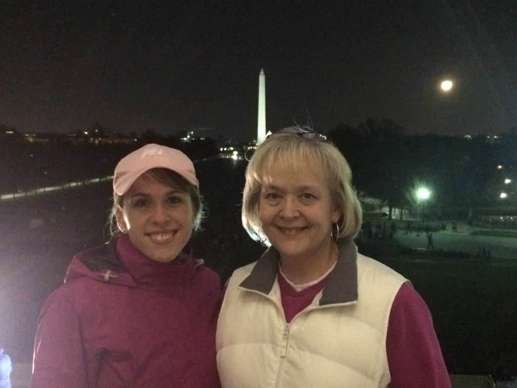 My mom and I out for an evening stroll along the mall in Washington DC.