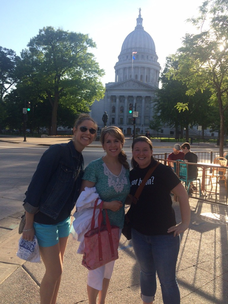 In front of the Wisconsin State Capitol.
