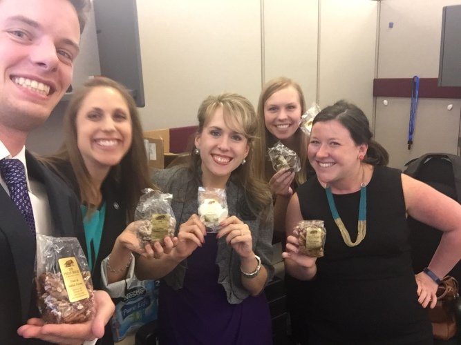 A team selfie after the meetings with some delicious pecans a board member brought us.