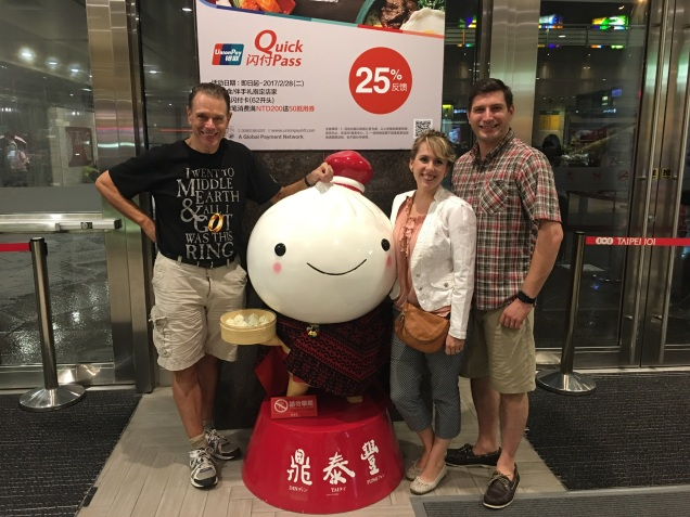 Here we are outside the restaurant taking the customary picture with a life-size dumpling.